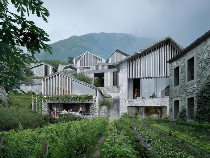 Oppenheim Architecture a achevé la conception d'une station balnéaire au Tessin,