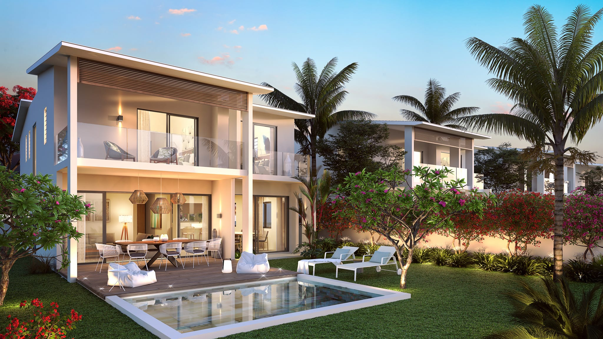 villas individuelles baie de Tamarin Île Maurice