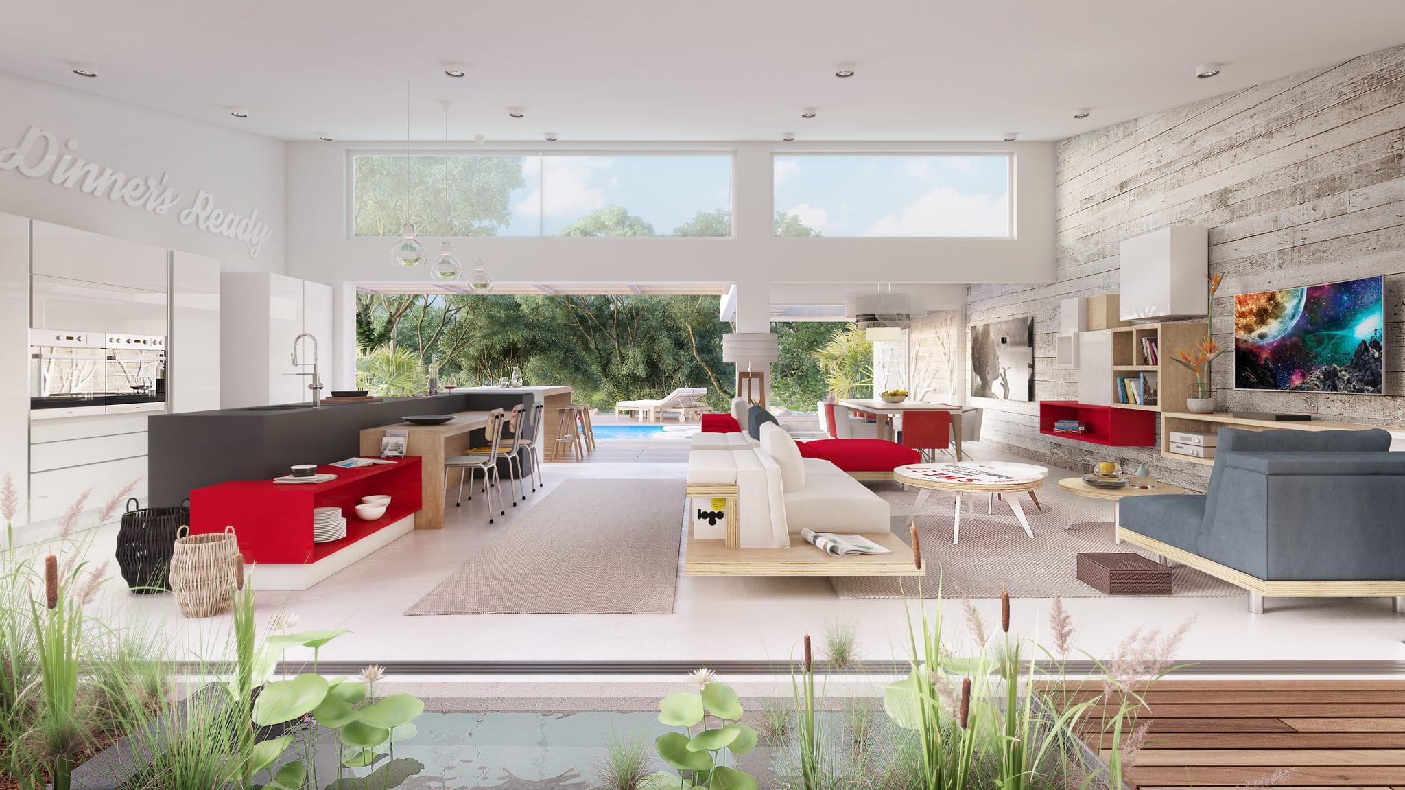 Villas construites sur des parcelles d'environ 1000m2 piscine jardin privé Tamarin