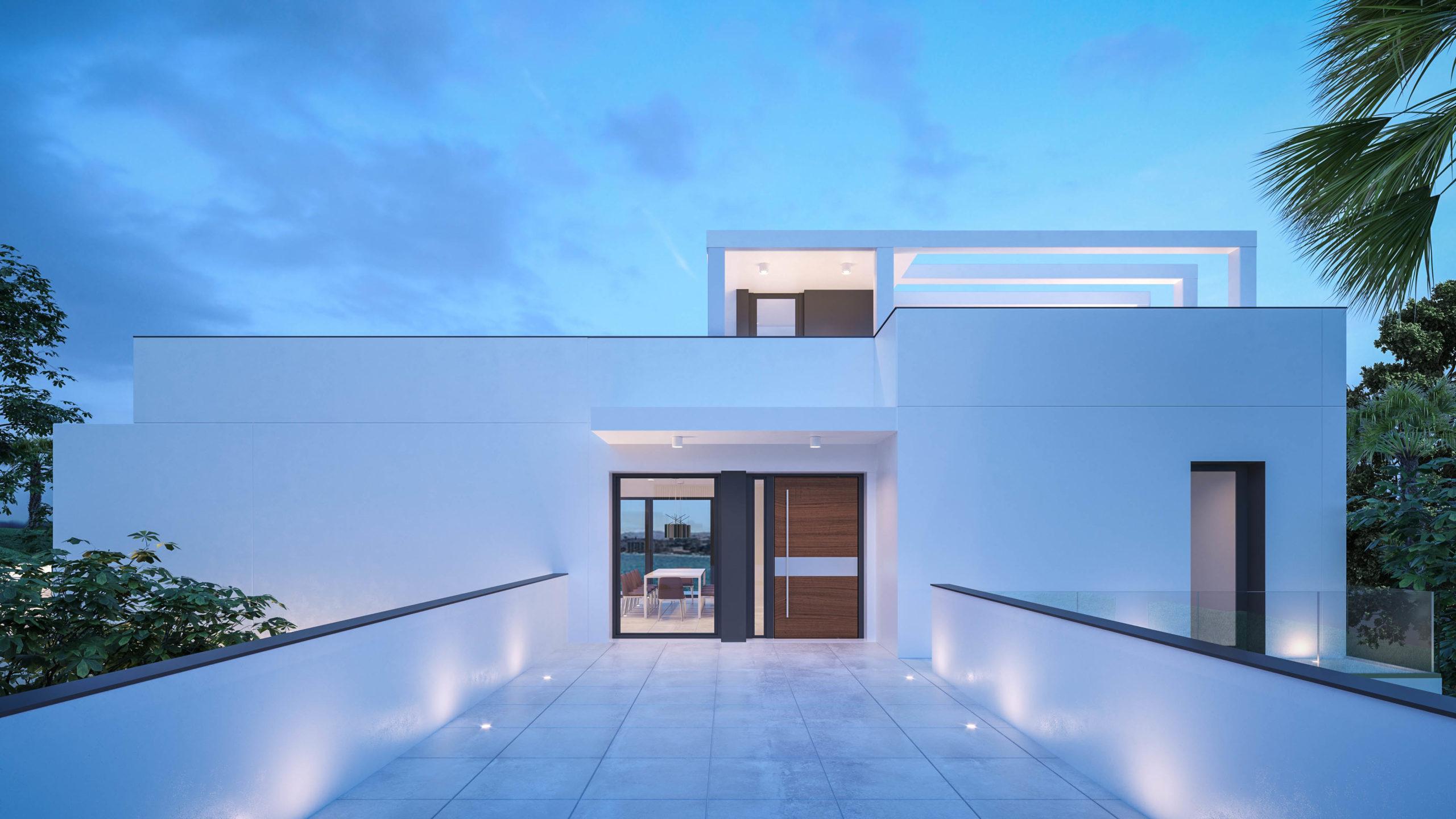avec des lignes épurées et fines et de grandes fenêtres.  Villa spectaculaire dans l'urbanisation Santa Monica de Benalmadena Villa spectaculaire dans l'urbanisation Santa Monica de Benalmadena 