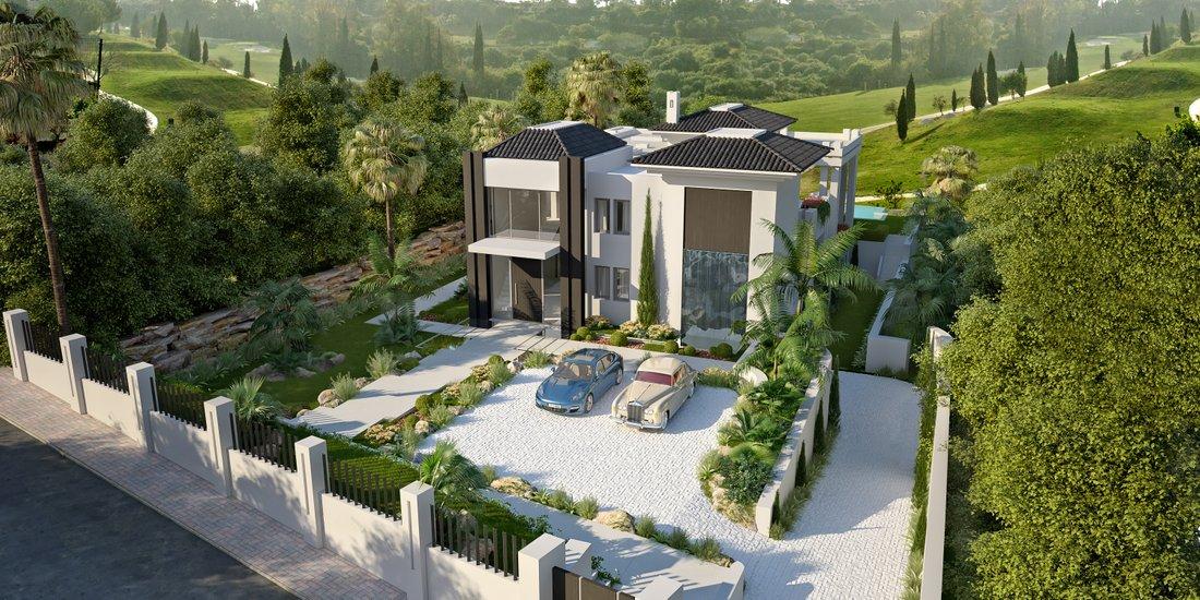 Villa neuve style contemporain à vendre vue dégagée sur le golf Marbella|Villa neuve à vendre à Los Flamingos