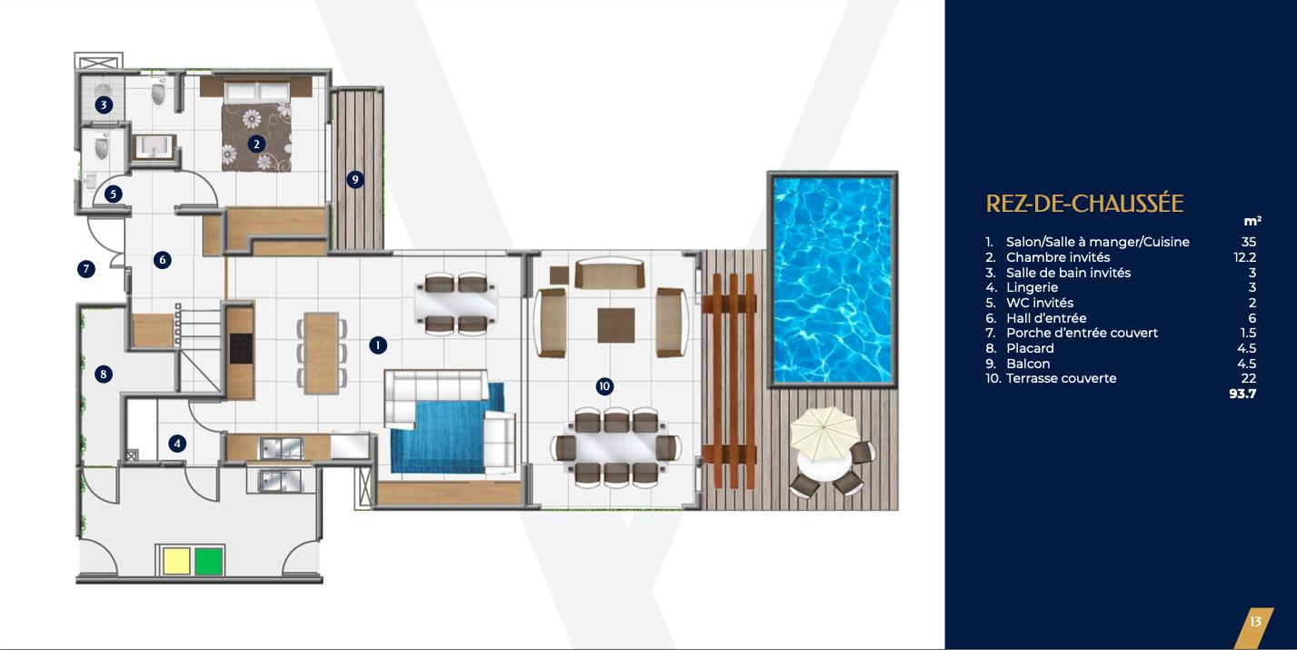Villa de 400m2 de 4 chambresn jardin et une piscine privée0
